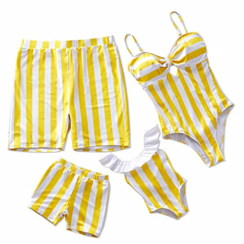 IFFEI Family Matching Swimwear One Piece Bathing Suit Striped Hollow Out Monokini Mommy and Me Beachwear Men: M Yellow