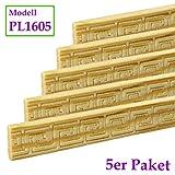 Zierleiste Schnitzleiste Prägeleiste 1000 x 16 x 5 mm Kiefer Massivholz natur unbehandelt | Modell: PL1605 | 5-er Pack | Abschlussleisten Bastelleisten Holz-Stuckleisten Möbelleisten