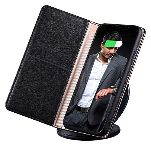 BigBull Leather Case Wallet Style Flip Cover Case Compatible for Man iPhone Xs 5.8 inch ONLY (Black)