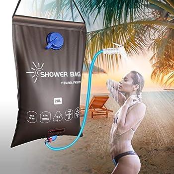 Sac douche solaire de camping 20 L, portable sac de bain voyage avec thermomètre, pomme de douche On/Off, marque de capacité, poche de rangement, pliable et léger pour l'extérieur, randonnée, escalade