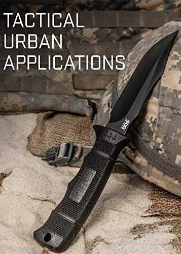 SOG Fixed Blade Knives with Sheath - SEAL Pup Elite Survival Knife, Hunting Knife w/ 4.85 Inch AUS-8 Bowie Knife Blade for a Tactical Knife (E37SN-CP)