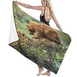 Toallas de baño,Bear Brown Rock Grizzly Forest Cantabria España Bokeh Brown Bear Cute Bears Animal,Manta Suave de Las Toallas de Playa de la Microfibra para el Viaje de la Piscina del baño