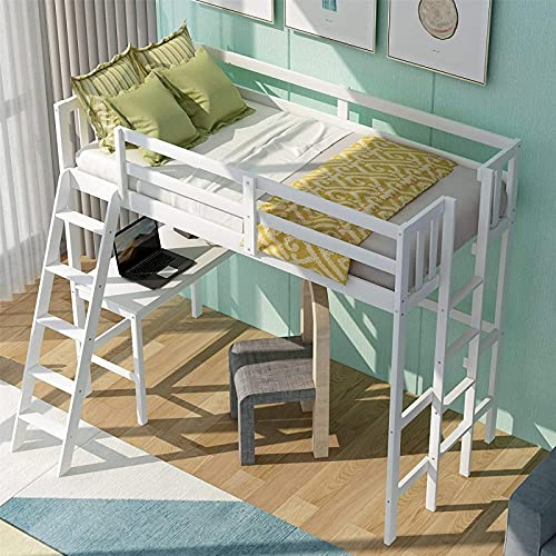 MWKL La más Nueva Cama de Madera Tipo Loft con Escritorio y Dos escaleras, Cama Alta para niños, Cama para niñas, Cama para niños, Gris
