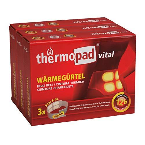 Thermopad Cintura Termica in Vital con 4 Grandi Celle di Calore, Calore Profondo Piacevole, Pronto all'Uso, per 12 Ore di Calore 42 °C, Facile da Applicare, Taglia S-XL, Confezione da 3 Pezzi