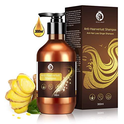 Haarshampoo,Anti Haarverlust Shampoo,Haarwachstums Shampoo,Ingwer Shampoo für Anti-Haarausfall, Regenerierend, Haarwachstum Beschleunigen,Pflegeshampoo für Damen & Herren- 300ML