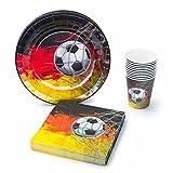 UMOI Einweg Fußball WM Partygeschirr Deutschland Set - 30 Hochwertige Pappteller, 30 Pappbecher und 60 Servietten für den ultimativen Fußball-Grillabend 120tlg.