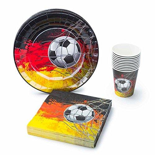 UMOI Juego de vajilla desechable para fiestas del Mundial de Fútbol, 30 platos de cartón de alta calidad, 30 vasos de cartón y 60 servilletas para la mejor barbacoa de fútbol (120 piezas)