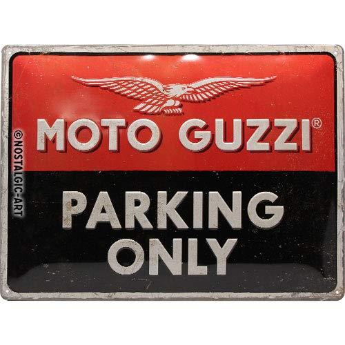 Nostalgic-Art Moto Guzzi – Parking Only – Geschenk-Idee für Motorrad-Fans Cartel de Chapa Retro, De Metal, Diseño Vintage para decoración, 30 x 40 cm