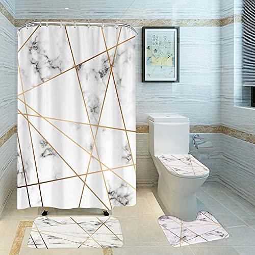 ETOPARS Marmor Textur Badezimmer Duschvorhang Teppich Set 4-teilige weiche und rutschfeste Badematte, U-förmiger Kontur Teppich, Toilettendeckelabdeckung 72 x 72 Zoll Vorhang