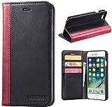 LENSUN iPhone 8 Hülle iPhone 7 Hülle, Handyhülle Handytasche iPhone 8/7 (4.7 Zoll) Leder Huelle Tasche Flip Case Ledertasche Schutzhülle - Schwarz (7G-FG-BK)