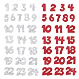 BHGT 2 Set Filz Adventskalender 1-24 Selbstklebend Zum Basteln (Rot-Grau in Zahlen)