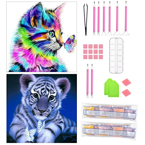 APERIL Diamond Painting Kit, 2 pcs 5D Kit de pintura de diamante Tigre Gato, Fai da Te Pieno di Numero Kit Pittura Diamante Strass Ricamo Craft Arts per Adulti o Bambini, Decorazione per Casa e Pareti