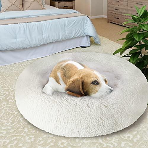 KROSER Hundebett Rundes Plüsch Weiches Waschbar Mittelgroßes Hundebett Schöne Tierbett für Hund Deluxe Haustierbett 82cm-Weiß MEHRWEG