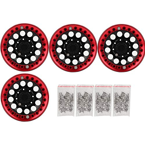 4Pcs RC Felgen, 1.9in Hub Wheel Rim Aluminium Beadlock Felgen Set für SCX10 1/10 RC Crawler Car(Schwarz Rot)