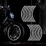 TOMALL Calcomanía Reflectante para Llantas de Ruedas de 17 Pulgadas para Ruedas de Motocicleta Coche Bicicleta Bicicleta Noche Reflectante decoración de Seguridad Raya Universal (Blanco)