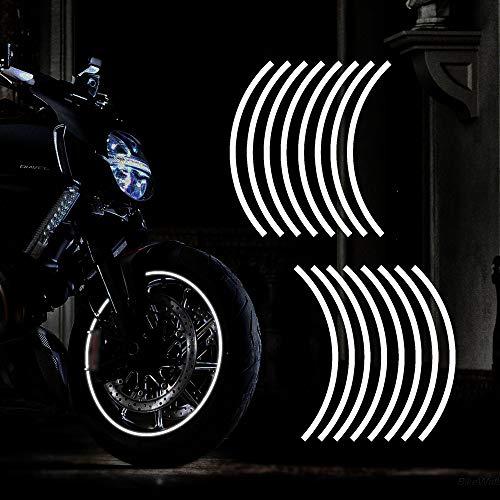 """TOMALL 17""""Reflective Wheel Felgenstreifen Aufkleber für Motorradräder Auto Radfahren Fahrrad Fahrrad Nacht Reflektierende Sicherheitsdekoration Streifen Universal Felgenaufkleber (Weiß)"""
