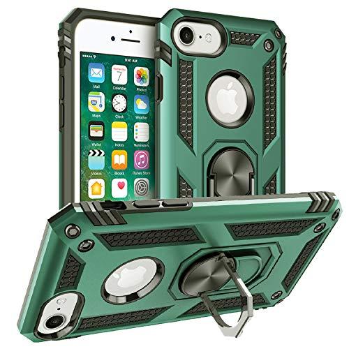 Pegoo Custodia iPhone 8, Ultra Slim armatura antiurto Copertura Cassa Custodia Silicone cover Case supporto stabile Protettiva Shell per apple iphone 8 7 6 6S (Verde scuro)