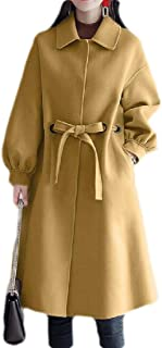 Macondoo Womens Winter Casual Wool-Blend Outwear Single Breasted Pea Coat Overcoat