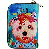 Buvelife Credit Card Wallet RFID Leather Zipper Clutch Wallets, Wallet for Women (dog)