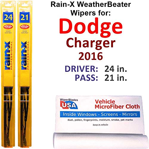 Rain-X WeatherBeater Wiper Blades for 2016 Dodge Charger Set Rain-X WeatherBeater Conventional Blades Wipers Set Bundled with MicroFiber Interior Car Cloth