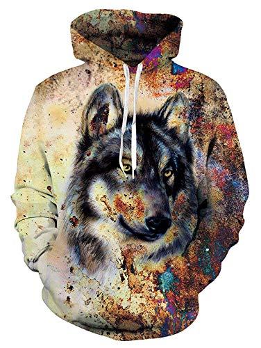 ALISISTER Unisex 3D Druck Hoodie Kapuzenpullover Personalisiert Wolf Grafik Hooded Pullover Sweatshirt Herbst Winter Warm Slim Fit Kapuzenpulli mit Tasche XXL
