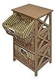 ts-ideen 4200 Commode Table d'appoint Étagère Maison de campagne en Braun Effet antique 3 paniers en rotin