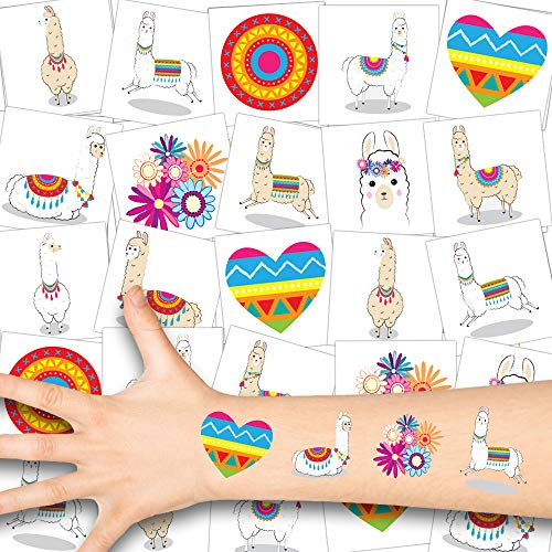 German Trendseller® Lama Kinder Tattoos - Set ┃ Neu ┃ Lama Party ┃ Kindergeburtstag ┃ Mitgebsel ┃12 Tattoos