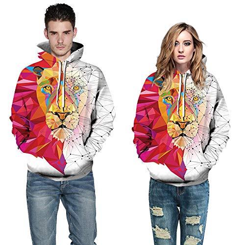 yyqx container Heren en vrouwen realistische 3D gedrukte trui hooded sweatshirt hoodie grote zak wit rood concept tijger hoofd 3D hoodie