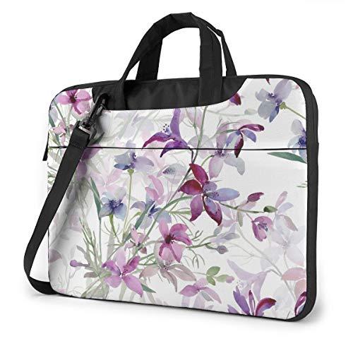 Watercolor Wild Flowers Floral Laptop Bag Case Sleeve Briefcase Computer Organizer for Women Men 13'