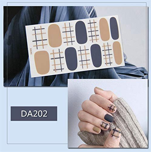 HDDWZH Nagelaufkleber,14 Tipps/Blatt Volle Deckung Wraps Nagellack Sticker Zweifarbige Plaid...