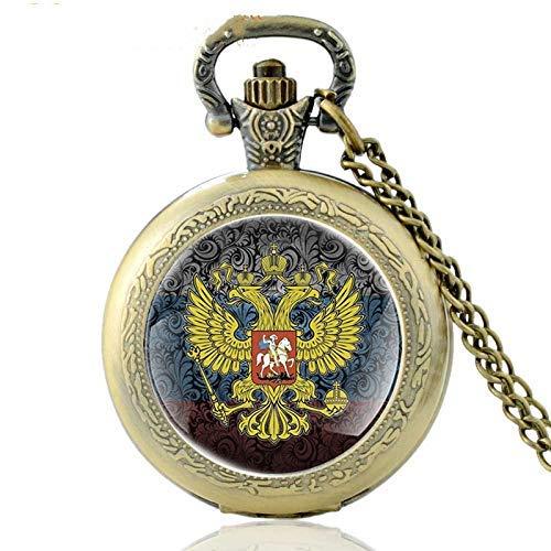 J-Love Clásico Ruso Emblema Nacional Arte Cristal cabujón Reloj de Bolsillo Vintage Hombres Mujeres Bronce Cuarzo Collar Relojes