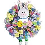 BSTQC Decoración para puerta de Pascua, corona de conejo de Pascua, primavera al aire libre, corona colgante para el hogar