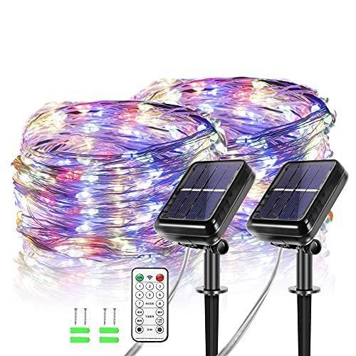 【2 Stück】Solar Lichterkette Aussen,12 Meter 120 LEDs Bunt für Außen mit Fernbedienung, wasserdichte / beliebig geformte...