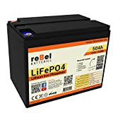 reBel Batteries 50ah Lithium Battery - LiFePO4 12V 50Ah Battery - Deep Cycle Battery - RV Battery and Solar Battery - Lithium Iron Phosphate Battery with Bluetooth BMS