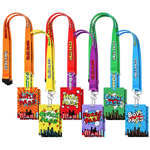 12 Pieces Hall Pass Lanyards Set Unbreakable School Passes Lanyard Colorful Classroom Passes for Hall, School, Classroom, Office Supplies, Nurse