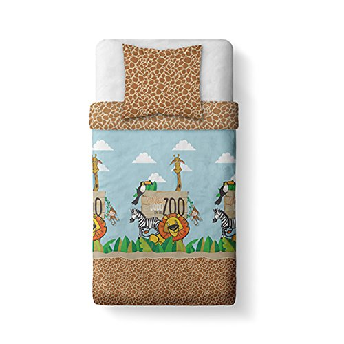 TODAY Happy Boy Jungle Dodo-Parure HC1 : Housse de Couette 140x200 + 1 Taie d'Oreiller 100% Coton, COTON-57 Fils, Marron/Bleu