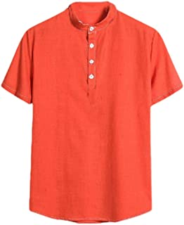 CuteRose Men Casual Loose Pure Color Summer Linen Short Sleeve Top Shirt