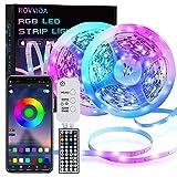 LED Strip, HOVVIDA 20M Bluetooth LED Streifen RGB 5050 12V, Wird von APP, IR-Fernbedienung und Controller Gesteuert, LED lichtband mit 16 Millionen Farben, 28 Stilmodi, Zeitsteuerungs-Modus