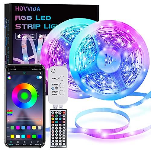 Striscia LED, HOVVIDA 20M Bluetooth Strisce LED 5050 RGB 12V Musica, Controllato da APP, Telecomando IR e Controller, 16 Milioni di Colori, 28 Modalità di Stile, Modalità di Temporizzazione