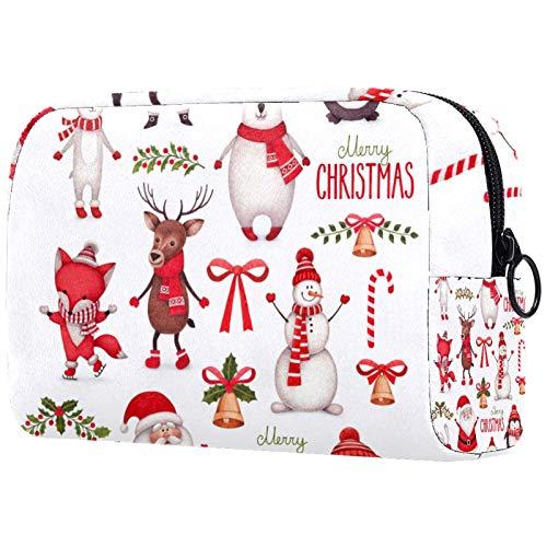 Kosmetische Reisetasche, Make-up-Fall, Make-up-Tasche, Geburtstagsgeschenk, Jubiläumsgeschenk - Weihnachten Santa Schneemann Hirsch Eisbär Pinguin Tier