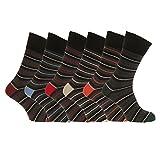Aler Herren dünne Multi-Streifen Socken, nicht elastisch (6 Paar) (6-11 UK/39-45 EU) (Schwarz/Grau/Multi)