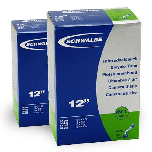 SCHWALBE AV1 (12x1.75 -2 1/4 Zoll) 2 Stück Fahrradschlauch mit Auto Ventil 45 Grad Winkel, für Kinderrad + 3 Stück Schwalbe Reifenheber
