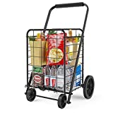 Grocery Cart with Wheels, Heavy Duty Foldable Lightweight Shopping Cart, 176lb Large Capacity Shop Cart for Groceries, Laundry, Pantry, Garage by AMADA HOMEFURNISHING-AMTUC2