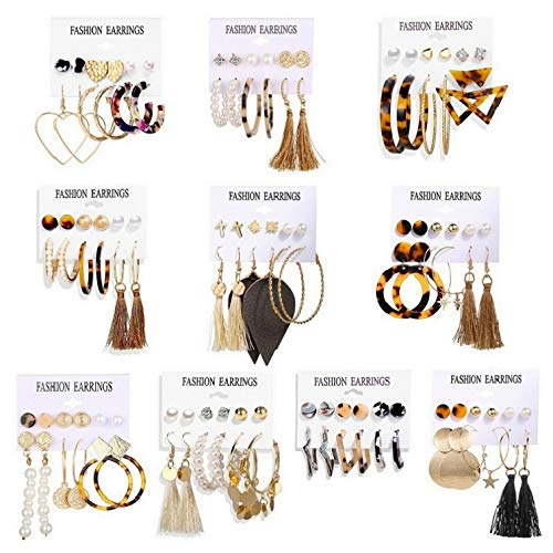 60 Pairs Fashion Colorful Earrings Set with Bohemian Tassel Earrings Layered Ball Dangle Leopard Hoop Stud Jacket Earrings for Women Girls Jewelry Fashion and Valentine Birthday Party Gift