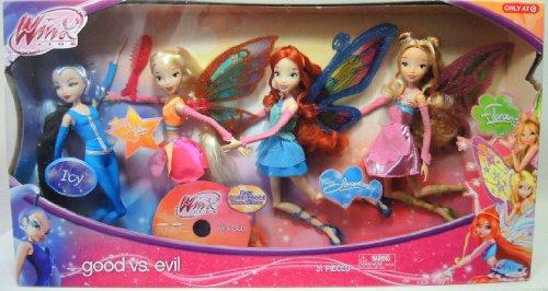 Winx Club Good vs Evil 4 Pack Icy Bloom Stella Flora 11.5' Enchantix Dolls
