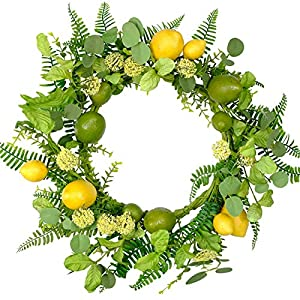 Bibelot 22 Inch Lemons Wreath Spring Fruit Wreath with Artificial Lemons Wild Flowers and Green Leaves for Front Door,Summer Fruit Door Wreath for Wall,Home Decor