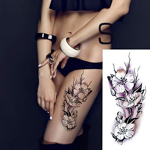 6Pcs Tatuajes Adhesivos Para Adultos Temporales, Color Peonía Flor De Loto Rosa Impermeable Grande Fake Tatuaje Temporales Mangas Negro Tatuaje Cuerpo Pegatinas Para Adultos Hombre Mujer