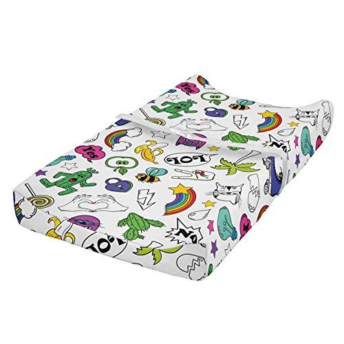 ABAKUHAUS emoticon Cubierta del cambiador, 80. El conjunto colorido del cómic, Funda blanda para el cambiador de pañales con agujeros para la hebilla de seguridad, Multicolor