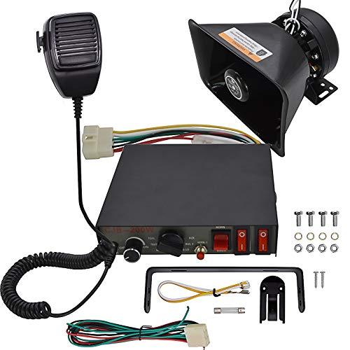 Safego Police Siren Speaker Car Pa System, Dc12v 200w 9 Tones Wired Handheld Microphone Loudspeaker Emergency Siren Electronic