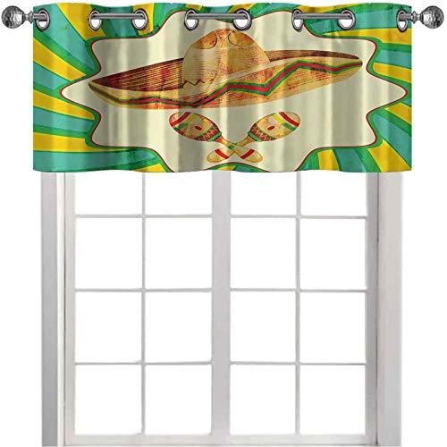 Cenefa de cortina para oscurecer la habitación, estilo Funk, sombrero de paja viejo con ilustración de maracas decorativa, 91,4 x 45,7 cm, cenefa opaca para ventana de cocina, color amarillo y verde